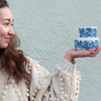 Apaja-sarjan sininen kahvikuppi, myslikulho ja pikkulautanen